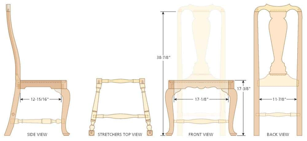 Queen Anne Side Chair side view illo