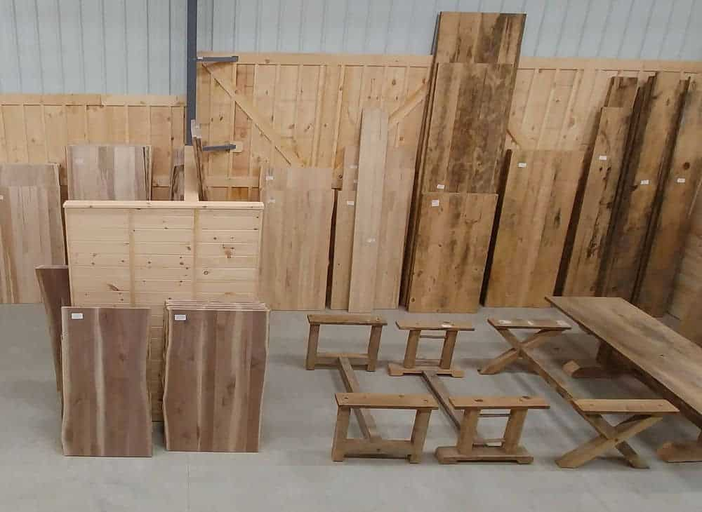 Wood shed table tops