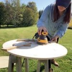 Scrolled name sign - sanding
