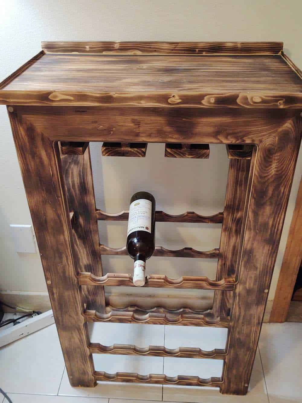 Wine rack made with 100+ year old wood